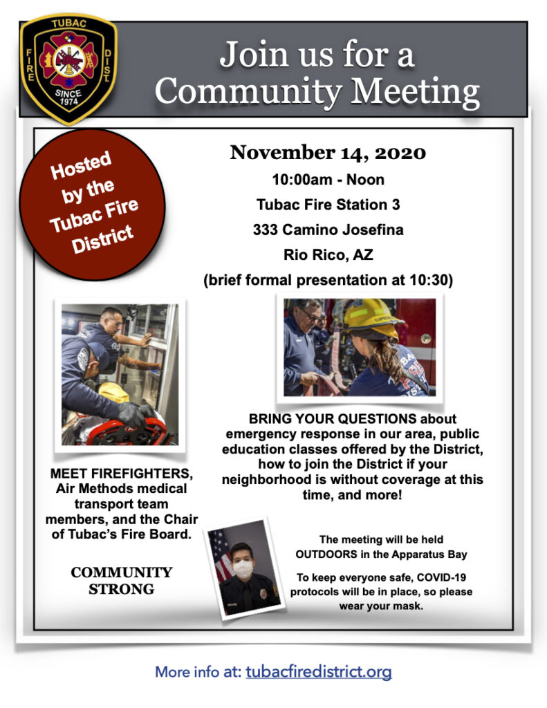 Tubac Fire Community Meeting Flyer