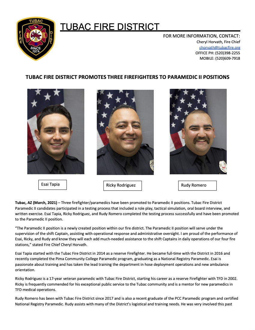 TFD Paramedic II Promotion Announcement copy